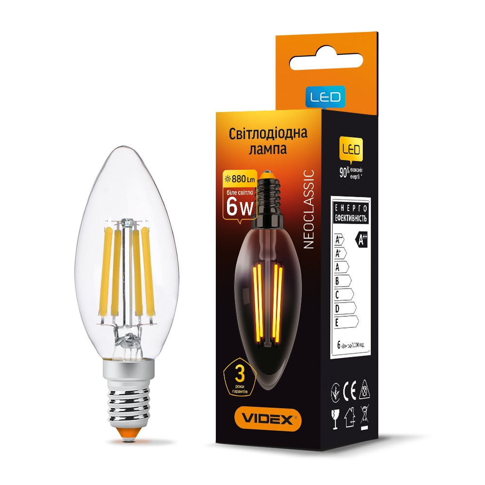 LED лампа VIDEX Filament C37F 6W E14 4100K