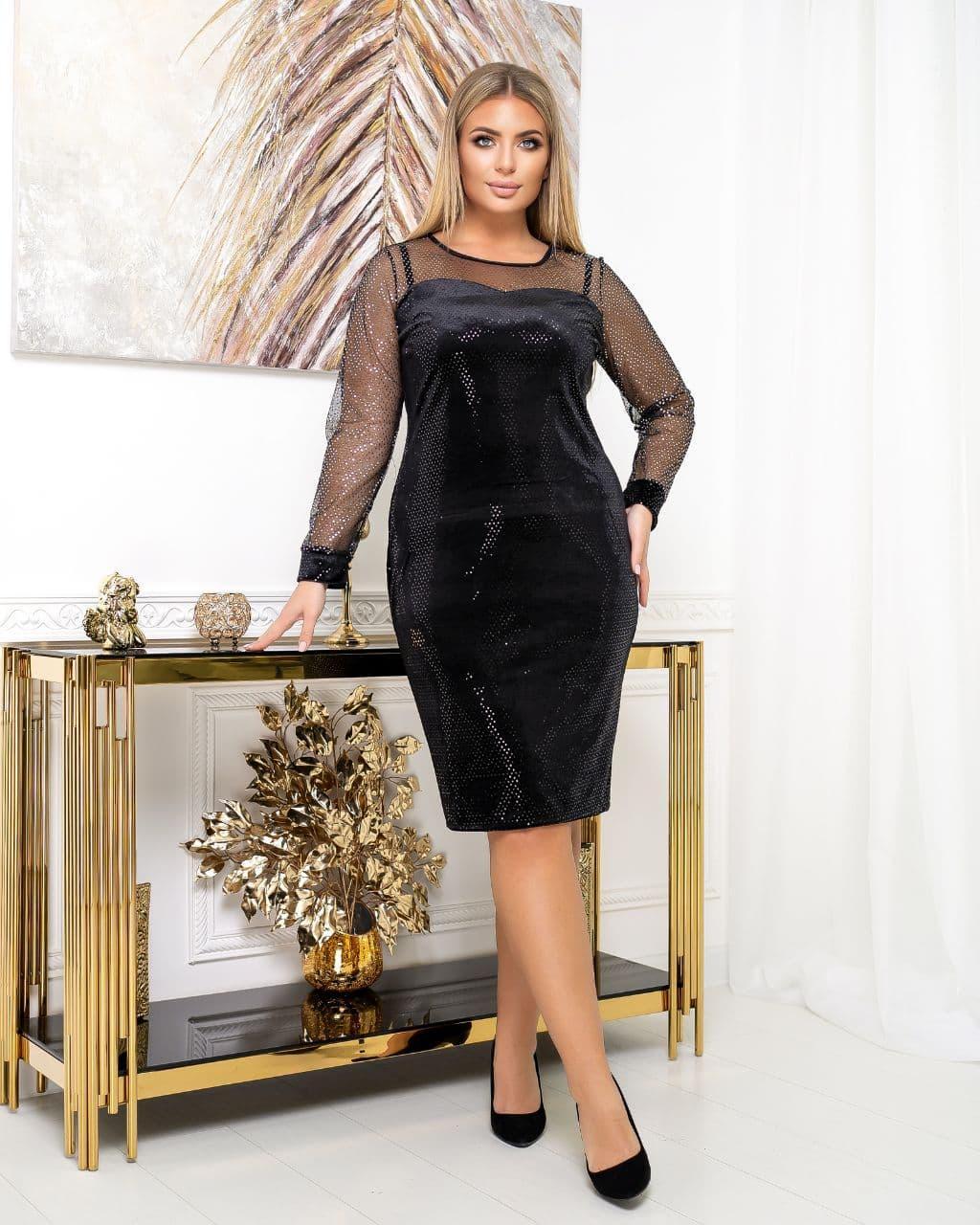 Платье вечернее батал NOBILITAS 50 - 56 черное с пайетками велюр (арт. 20054)