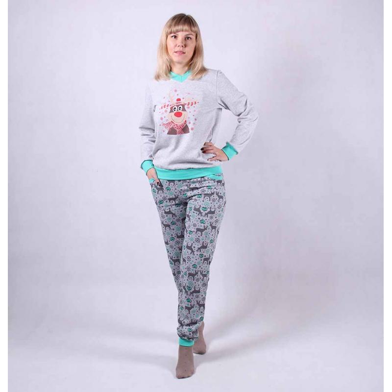 """Теплая женская пижама из хлопка с оленями """"Deer-Mint"""" р.42-54"""
