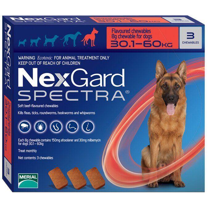 НЕКСГАРД СПЕКТРА для собак 30-60 кг NEXGARD SPECTRA таблетки против блох, клещей и глистов, 1 таблетка