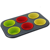 Тефлоновая форма для кексов с силиконовыми капсулами арт. 870-2361