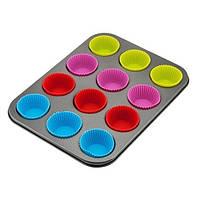 Тефлоновая форма для кексов с силиконовыми капсулами арт. 870-24121