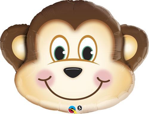 """Q 35"""" Mischievous Monkey Shape. Шар воздушный фольгированный Обезьянка. В уп"""