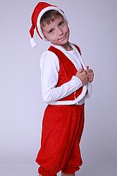 Карнавальный костюм Гном №1 велюр (красный)