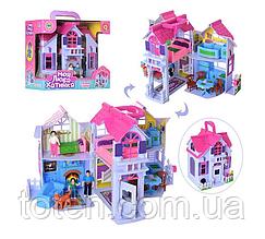 Домик для кукольных фигурок PL519-0801 раскладной с фигурками и мебелью для кукол