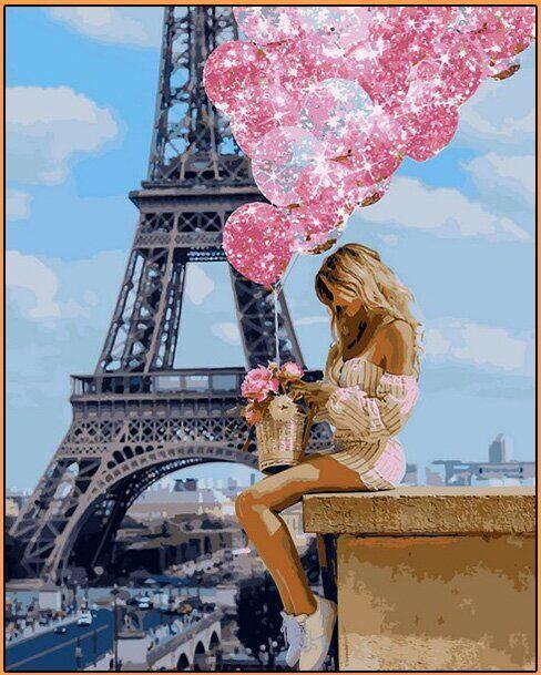 NB1236R Набор-картина по номерам (с багетной рамкой) Над Парижем, В картонной коробке