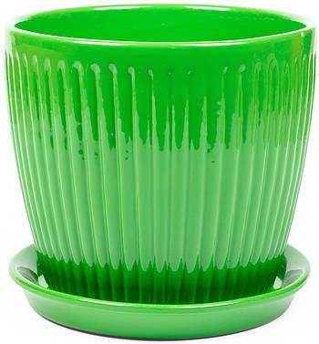 Вазон Зеленая сотка Вертикаль премиум 12 х 13 см Зелёный (000004588)