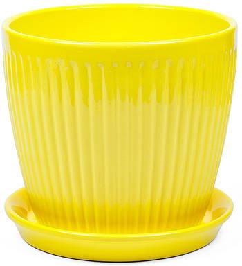 Вазон Зеленая сотка Вертикаль премиум 15 х 15 см Жёлтый (000004569)