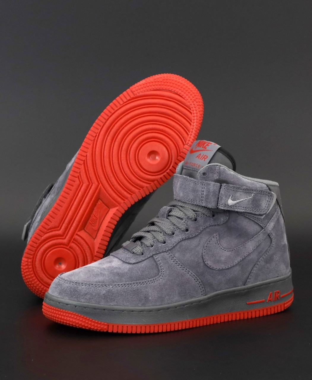 Зимние мужские кроссовки Nike Air Force  c мехом, Найк Аир Форс серые высокие на липучке