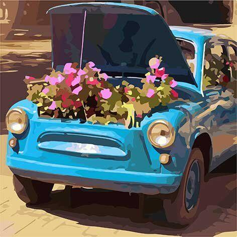 10517-AC Набор-раскраска по номерам Цветочное ретро, Без коробки