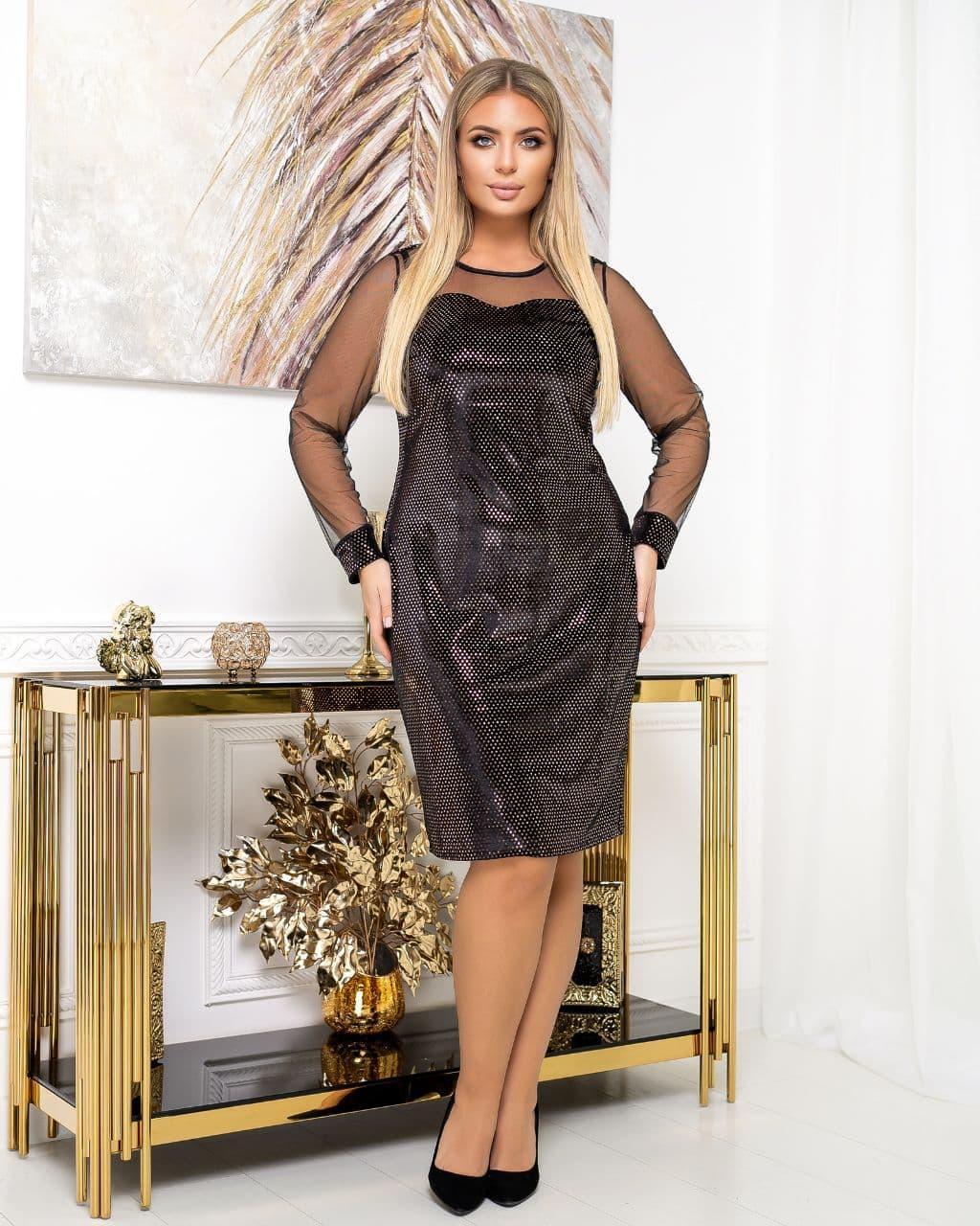 Сукня вечірня батал NOBILITAS 50 - 56 чорне з бронзовими паєтками велюр (арт. 20054)