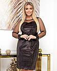 Сукня вечірня батал NOBILITAS 50 - 56 чорне з бронзовими паєтками велюр (арт. 20054), фото 2
