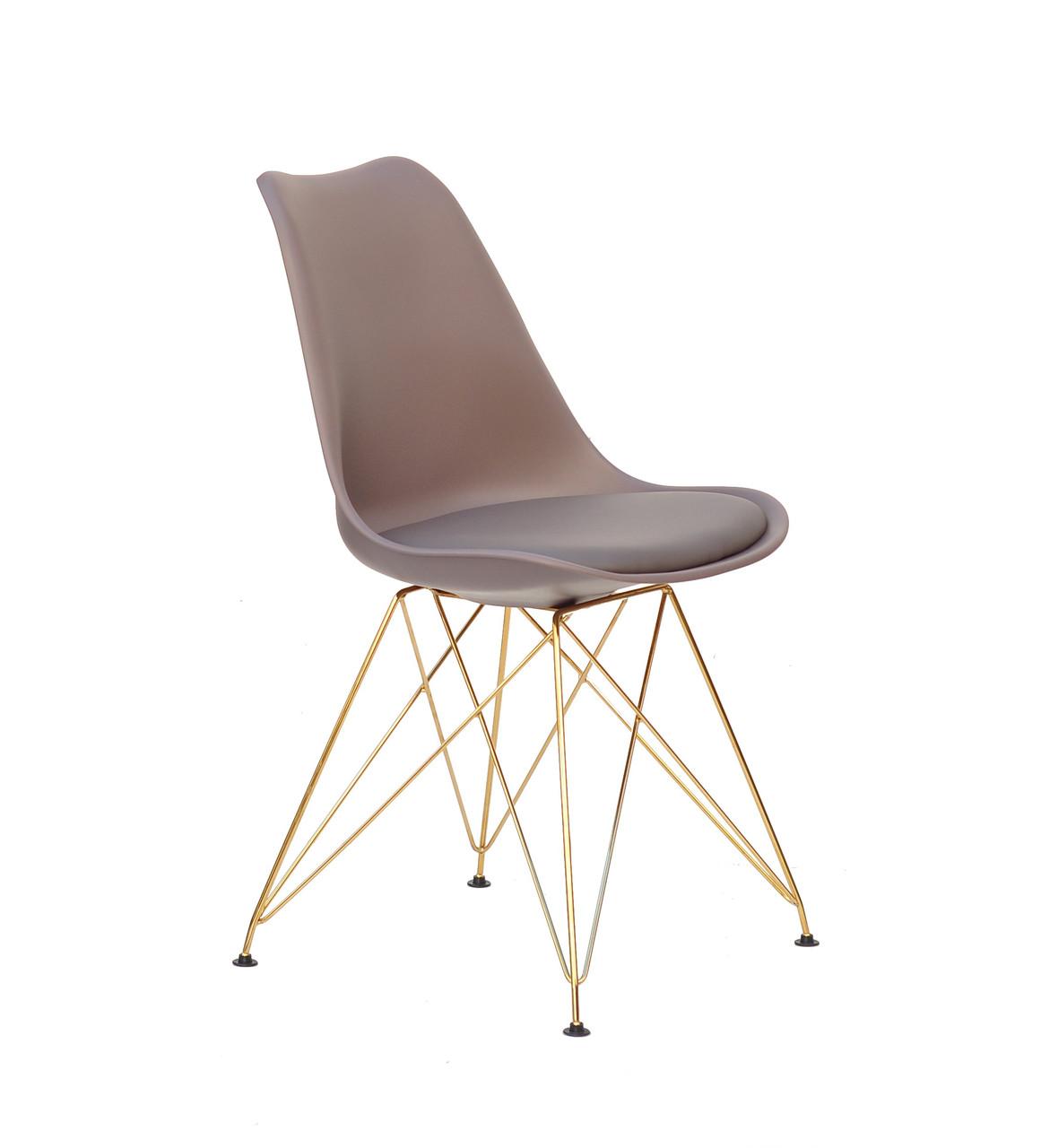 Сірий стілець з золотими ніжками з металу і суцільнолитим пластиковим сидінням з сидушкою Milan GD-ML
