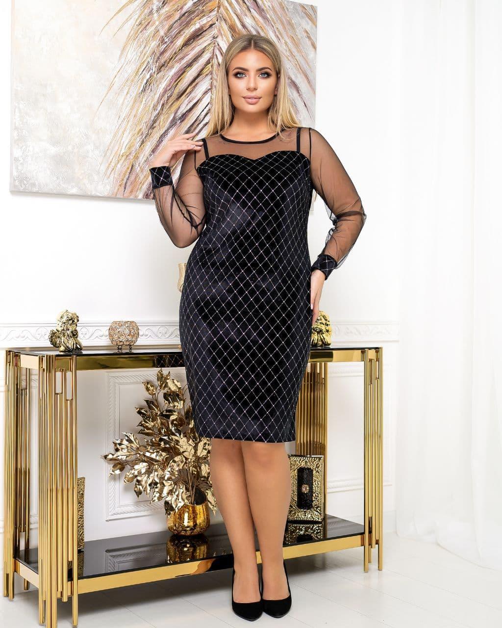 Платье вечернее батал NOBILITAS 50 - 56 черное с серебром велюр (арт. 20054)