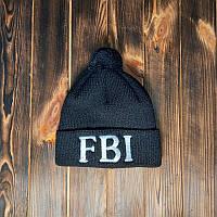 Шапка отворот теплая FBI черная