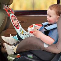 Автотренажер детский для авторкесла в машину, игровая панель с рулем, с музыкой и светом, HE0623