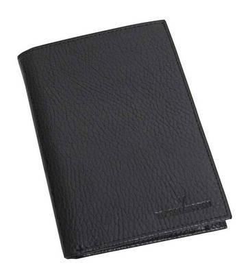 Мужской вертикальный кожаный кошелек портмоне VIP COLLECTION Украина Boston 54A flat черный