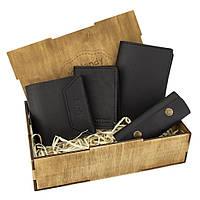 Женский подарочный набор Handycover №44 черный (кошелек, 2 обложки, ключница) в коробке, фото 1
