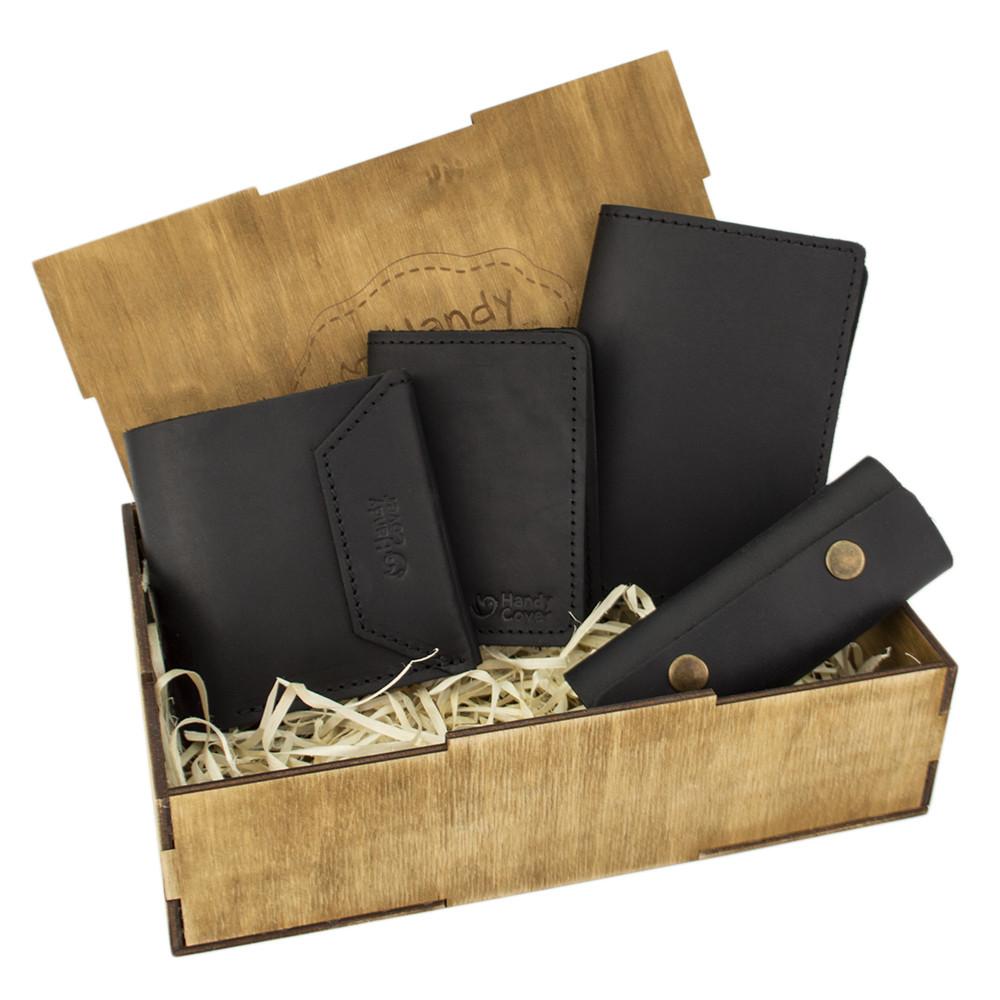 Женский подарочный набор Handycover №44 черный (кошелек, 2 обложки, ключница) в коробке
