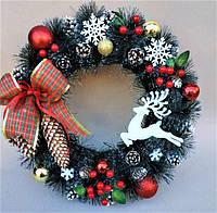 Рождественский новогодний венок Праздничный Vela Handmade с Натуральным декором 40см для интерьера, дверей.