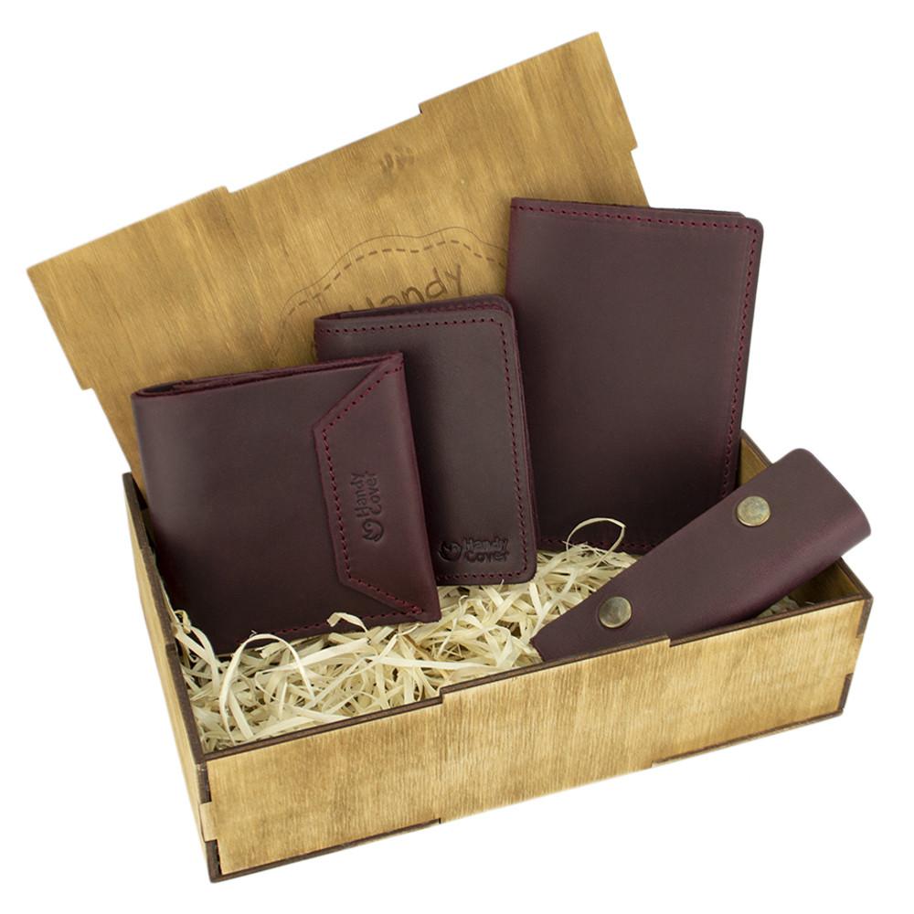 Подарунковий набір жіночий Handycover №44 (бордовий) гаманець, 2 обкладинки, ключниця в коробці