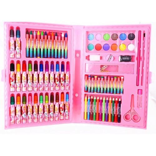 Набір художника для малювання та творчості 86 предметів рожевий