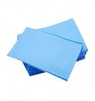 Нагрудники стоматологические трехслойные текстурированные салфетки Blue, 125шт