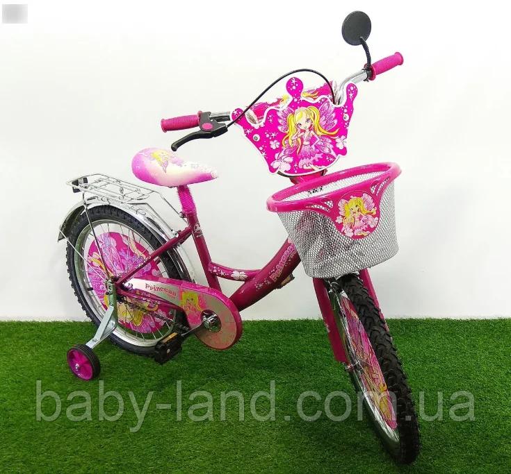 Велосипед детский двухколесный 18 дюймов с корзинкой Mustang Принцесса розовый