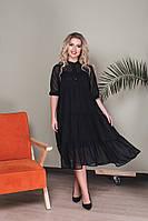 Женское двойное свободное шифоновое платье больших размеров, фото 1