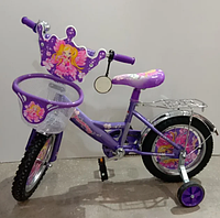 Велосипед детский двухколесный 18 дюймов с корзинкой Mustang Принцесса фиолетовый