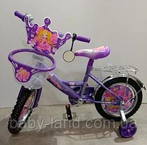 Велосипед дитячий двоколісний 18 дюймів з кошиком Mustang Принцеса фіолетовий