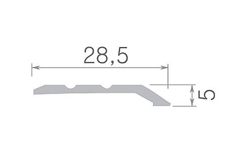 Алюминиевый профиль арт. 1178-226 01/серебро 28,5х5х1800 мм, фото 2