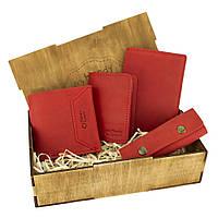 Женский подарочный набор Handycover №44 красный (кошелек, 2 обложки, ключница) в коробке
