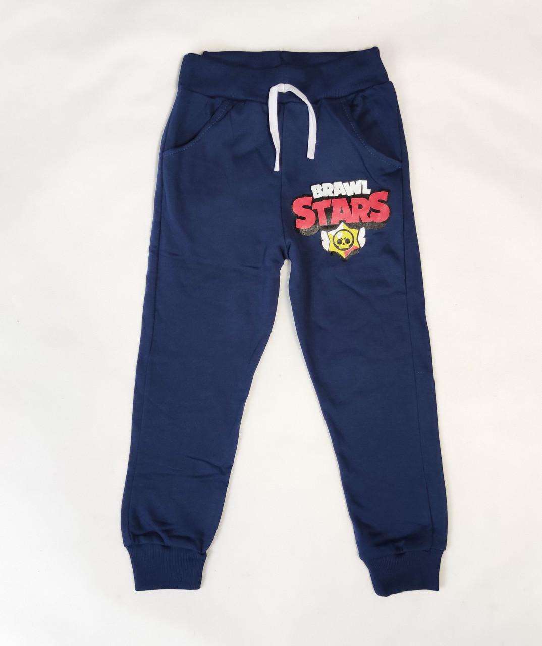 Бравл Старс brawl stars утепленные спортивные теплые штаны для мальчика синий 5-6 лет