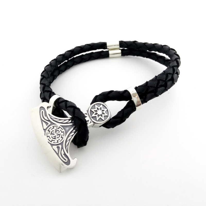 """Кожаный браслет - оберег """"Секира-Перуна"""" из серебра 925 пробы"""