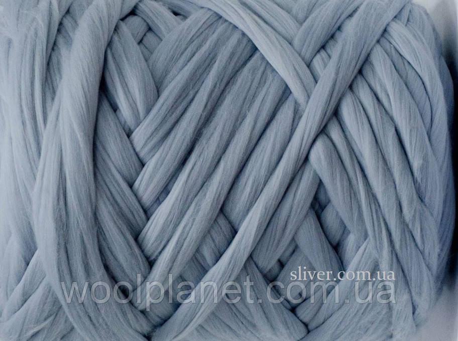 Толстая пряжа для пледа, кардигана. Шерсть мериноса в ленте для вязания. Серебро
