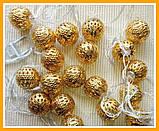 Гирлянда светодиодная Шарик Золотой Нить 20 LED Диодов, фото 5