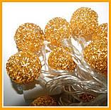 Гирлянда светодиодная Шарик Золотой Нить 20 LED Диодов, фото 6