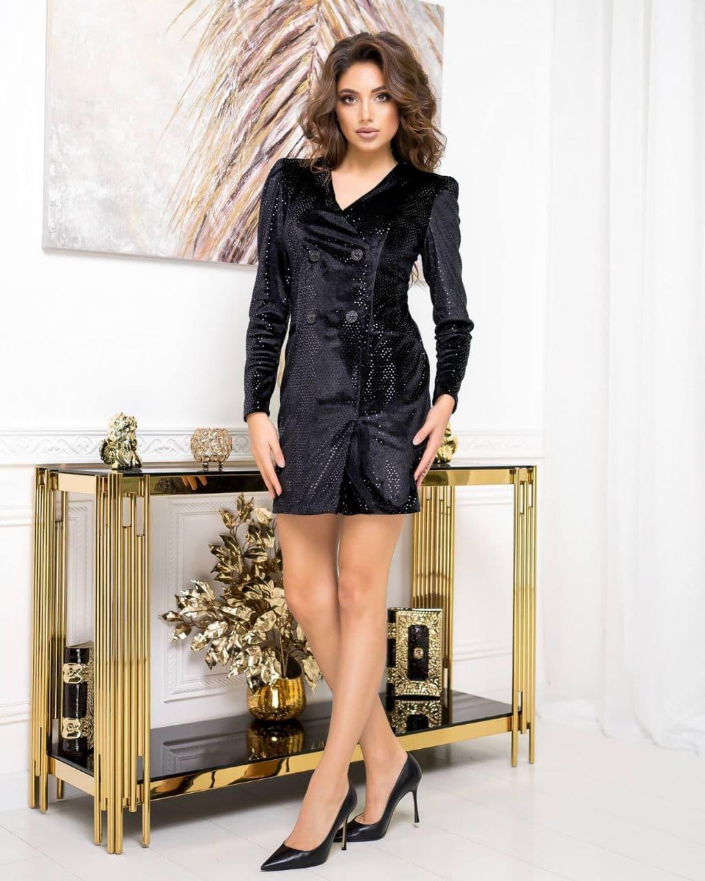 Платье  -пиджак  вечрнее NOBILITAS 42 - 48 черный с лаковыми пайетками велюр (арт. 20055)