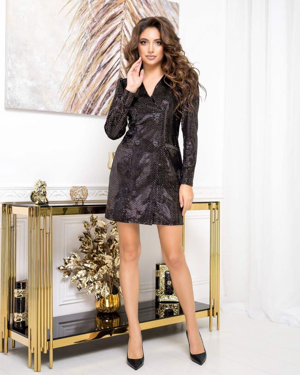 Платье-пиджак NOBILITAS 42 - 48 черный с бронзовыми пайетками велюр (арт. 20055)