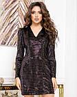 Платье-пиджак NOBILITAS 42 - 48 черный с бронзовыми пайетками велюр (арт. 20055), фото 3