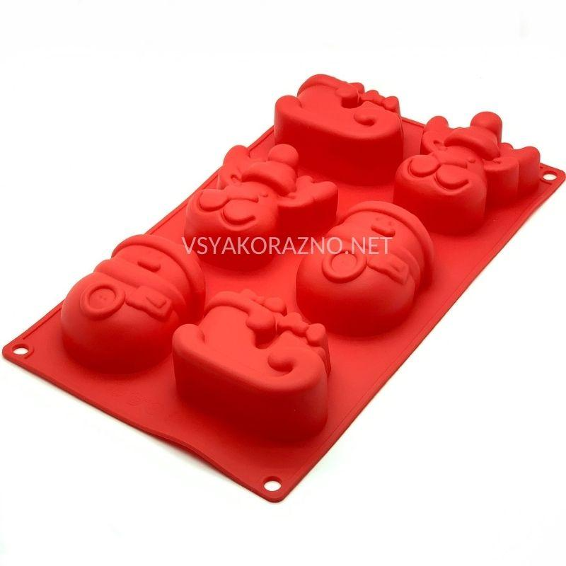Силиконовая форма для выпечки в духовке (НОВОГОДНЯЯ) красный