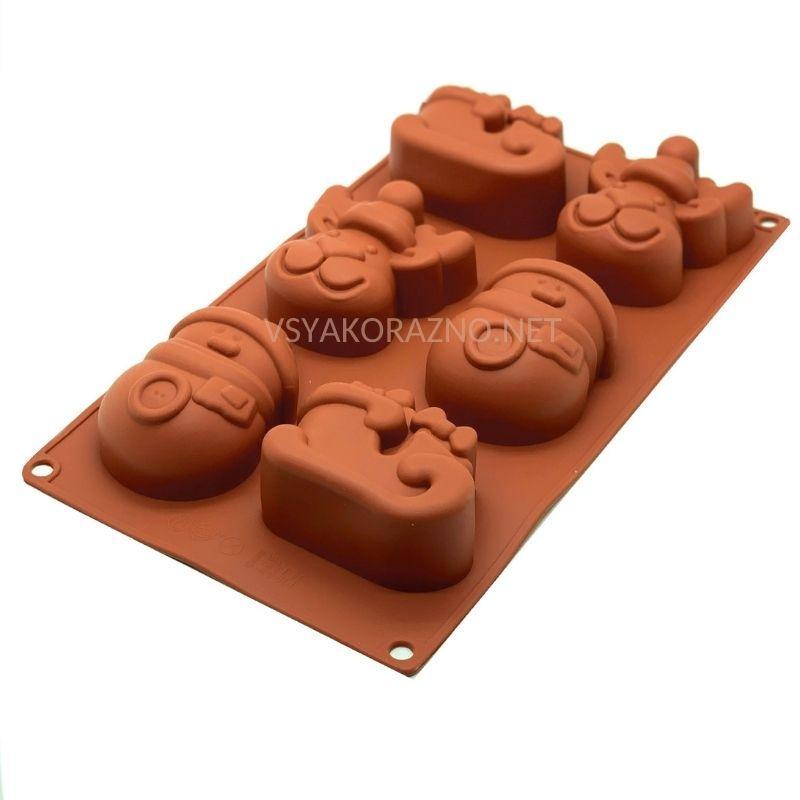 Силиконовая форма для выпечки в духовке (НОВОГОДНЯЯ) коричневый