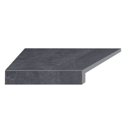 Aquaviva Кутовий елемент бортовий плитки Aquaviva Ardesia Black Г-подібний, 595x345x50(20) ліва/45°