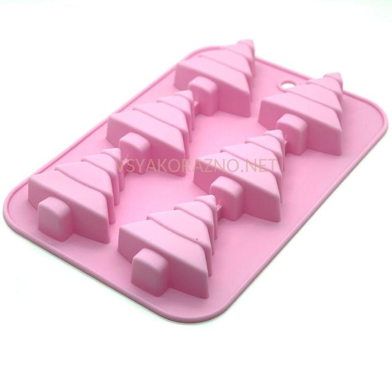 """Силиконовая форма для выпечки для кексов """"Елочка""""  25.5*17*3см  розовый"""