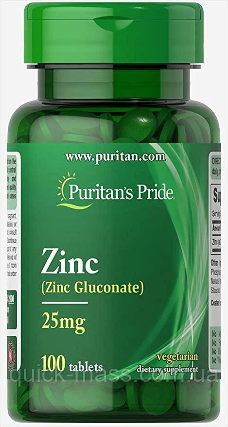 Цинк Puritan's Pride Zinc Gluconate 25 mg 100tab
