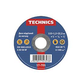 Диск отрезной Technics по металлу 115 х 1.2 х 22 мм (17-701)