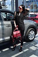 Блузка черная с коротким шифоновым рукавом White 20-1000