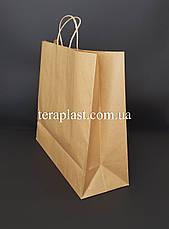 Бурый бумажный пакет с ручками 540х140х480 из импортной крафт бумаги, плотность 120г/м², фото 3