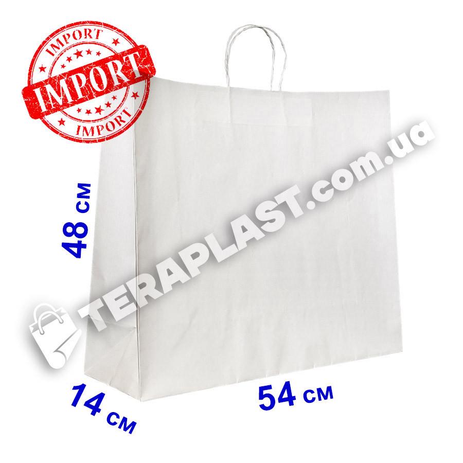 Белый подарочный крафт пакет с ручками 540х140х480 плотность 120г/м²